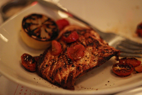 Salmon; Scottish salmon fillet, grape tomatoes, rattafia glaze