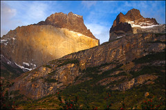 the Horns early morning (back from tripping around.) Tags: mountains sunrise rocks hiking trail granite glowing torresdelpaine anningham