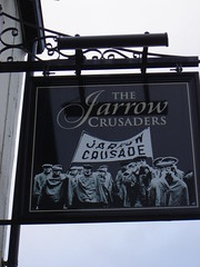 The Jarrow Crusaders Pub, Jarrow (Identity in Newcastle) Tags: uk england heritage history newcastle pub politics northeast jarrow newcastleupontyne pubsign harmonicas workingclass southtyneside northeastofengland jarrowcrusade labourmovementhistory
