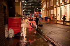 (Che-burashka) Tags: street red man rain londonbridge cab bin business rainy bermondsey cinematic suitcase puddles rubbishbin wetpavement canonef24mmf14lusm
