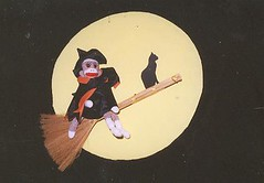 Sock Monkey Witch (monkeymoments) Tags: moon halloween cat witch sockmonkeys monkeys sockmonkey broom humoroushalloween