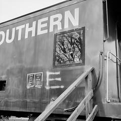 Broken (Paul Glover) Tags: blackandwhite usa 120 6x6 film analog mediumformat square virginia rail gretna railcar parked yashicaa fujiacros100