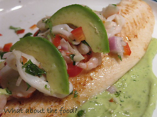 Ceviche topped Swai with Avocado Creme