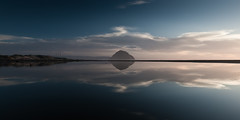 Morro Rock Reflecting in a Lagoon.  Waterscape (mikebaird) Tags: california sunset reflection strand reflecting king places lagoon getty morrobay morrorock tides gettyimages hightide morrostrand sanluisobispocounty 2011 statebeach kingtide california morrostrandstatebeach ca initiative santabarbaraarea 23jan2011 light30march2011 tides cakingtides californiakingtidesinitiative