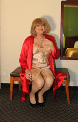 new98541-IMG_2238t (Misscherieamor) Tags: tv sitting feminine cd motel tgirl transgender mature sissy tranny transvestite satin crossdress ts gurl tg travestis travesti travestie m2f fullslip xdresser tgurl