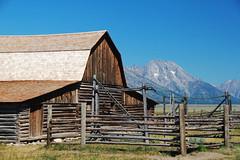 Fences at Mormon Row (RPahre) Tags: mormonrow grandtetonnationalpark grandtetons wyoming barn rural fence hff bluesky