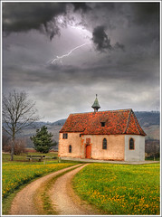 Lightning rod (Jean-Michel Priaux) Tags: sky france art church nature clouds photoshop painting landscape nikon flash chapel ciel alsace paysage chapelle hdr orage anotherworld clocher mattepainting littlechurch mutzig d90 molsheim lightingrod priaux vanagram