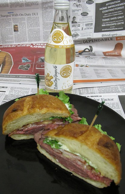 Roast beef sandwich and a Grown-Up ginger ale