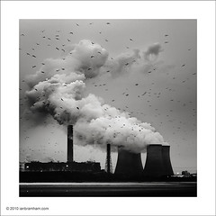 Power Station at Dusk (Ian Bramham) Tags: industry station square nikon power crop coal powered merseyside fiddlersferry 70300vr d700 bwfineartphotography ianbramham