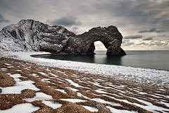Durdle Door (peterspencer49) Tags: world ocean winter snow seascape southwest heritage beach site unesco worldheritagesite dorset durdledoor jurassiccoast rockarch dorsetcoast limestonearch visipix