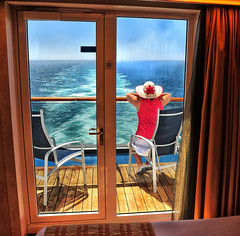 Alone on the Cruise Ship Balcony (Jeff Clow) Tags: ocean travel cruise sea vacation woman tourism female raw alone getaway balcony vista caribbean serene relaxation viewpoint caribbeancruise 1exp gapr