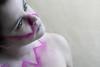 Mute (Lou Bert) Tags: pink portrait white girl make up look self eyes shine makeup stare facepaint mute