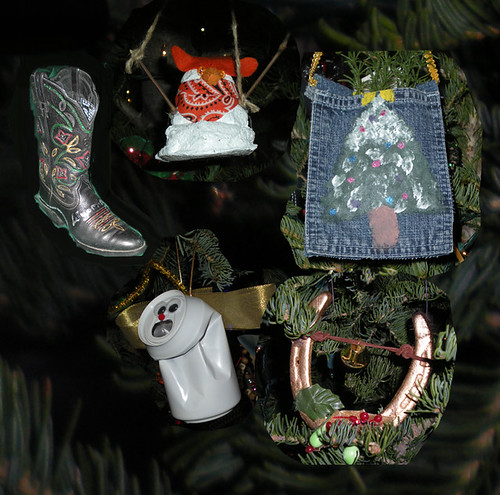 These ornaments exemplify the recycled nature of ornaments submitted by Wyoming residents for this year's trees, including a horse shoe, blue jeans pocket, a crushed can angel, and a snow man made from recycled drywall plaster. (US Forest Service photos by Phil Sammon)
