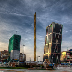 Gate of Europe, Caja Madrid (mathewbest) Tags: madrid canon cityscape hdr scky photomatix 5d2