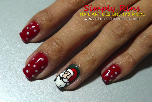 Christmas Nail Art Santa and Rudolph 01