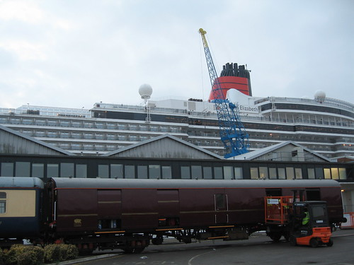 Cruise Train beside Cunard's Queen Elizabeth - Baggage Car