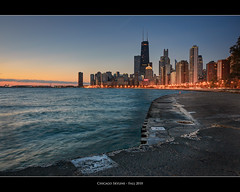 Chicago Skyline (Sebastian (sibbiblue)) Tags: camera morning panorama orange usa lake chicago hancockbuilding water night sunrise pier nikon raw horizon lakemichigan dreaming navypier dreamy blending johnhancockcenter thedrake warmcolors nikond40 singlerawprocessing