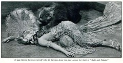 Gloria Swanson with lion in a scene from 'Male and Female' 1921 (CharmaineZoe) Tags: cinema film vintage nostalgia hollywood silentfilm silentmovies