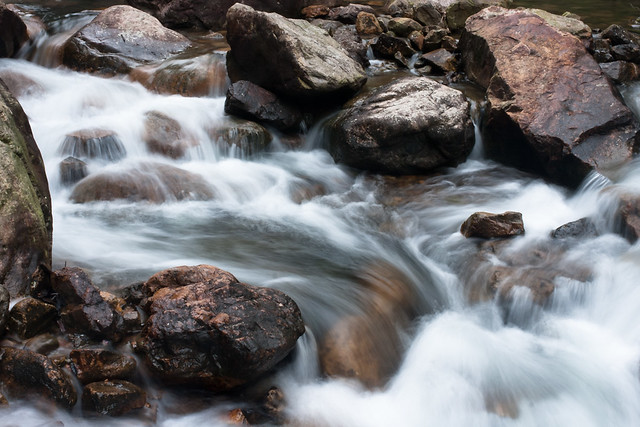Water flowing over rocks, 0.4 sec exposure