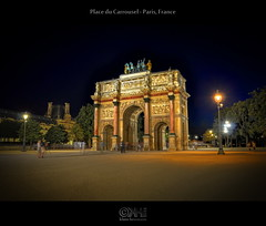 Place du Carrousel - Paris, France (HDR) (farbspiel) Tags: travel red vacation orange holiday paris history tourism yellow night photoshop logo photography ancient frankreich ledefrance tripod wideangle historic journey blended nikkor dri hdr highdynamicrange fra watermark hdri blend postprocessing dynamicrangeincrease 18200mm photomatix digitalblending wasserzeichen tonemapped tonemapping watermarking detailenhancer topazadjust topazdenoise klausherrmann topazsoftware topazphotoshopbundle nikonafsdxnikkor18200mm13556gedvr topazinfocus