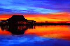 Arizona Sunset (gbrummett) Tags: park sunset arizona lake beach colors silhouette az tca tempe img4227 canonef2470mmf28lusmlens tempecenterforthearts canoneos5dmarkiicamera grantbrummett
