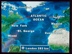 Are We There Yet? (tobysx70) Tags: ocean new york toby ny london digital plane canon airplane flying tv video airport map heathrow flight aeroplane powershot atlantic jfk route american boeing hancock airlines americanairlines 777 aa lhr s90 11g canonpowershots90 canons90 tobyhancock