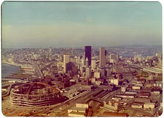 Kingdome and Seattle Skyline - 1975 (KurtClark) Tags: seattle skyline vintage washington october ride historic helicopter 1975 wa spaceneedle elliottbay helicopterflight kingdome october1975