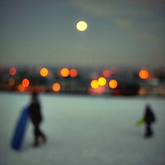 moon over mossley hill (fotobananas) Tags: winter moon snow liverpool pen bokeh olympus full explore sledging ep1 mossleyhill sleighing explored fotobananas