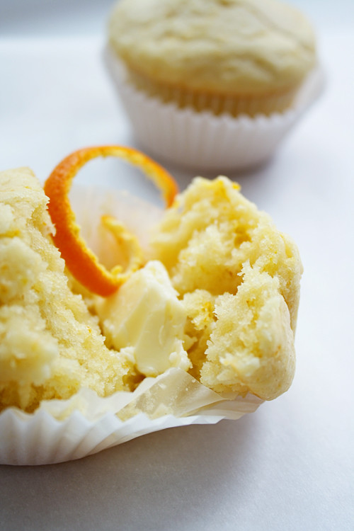 orange muffin, buttered