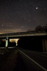 Winter Solstice Lunar Eclipse (jpzajackowski) Tags: road bridge sky moon nightsky lunareclipse wintersolsticelunareclipse