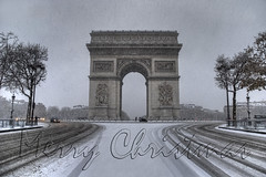 Merry Christmas from Paris ! (GlobeTrotter 2000) Tags: christmas xmas winter snow paris france de navidad europe champs arc triomphe charles noel merry feliz gaulle nol elysees etoile triumphal joyeux archnapoleon gettyimagesfranceq1