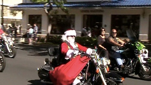 Santa on Bike 2010 Street Bikers United Toys for Tots Honolulu, Hawaii