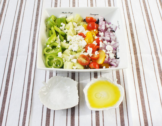 Sopska Salata + Easy Salad + Easy Meal + Quick Meals + Food Kids Love + Family Meals + Mediterranean Salad + Olive Oil + Vinegar + Sea Salt