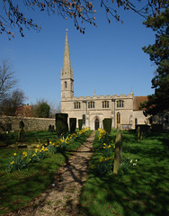 Rowston Church (tjsphotobrigg) Tags: uk england colour church architecture spring village sunny lincolnshire spire daffodils rowston