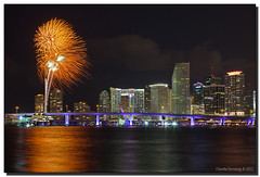 Happy New Year 2011! (Fraggle Red) Tags: longexposure night downtown florida fireworks miami nye newyearseve welcome biscaynebay watsonisland canonef24105mmf4lisusm miamidadeco portblvdbridge adobelightroom3 newyear2011