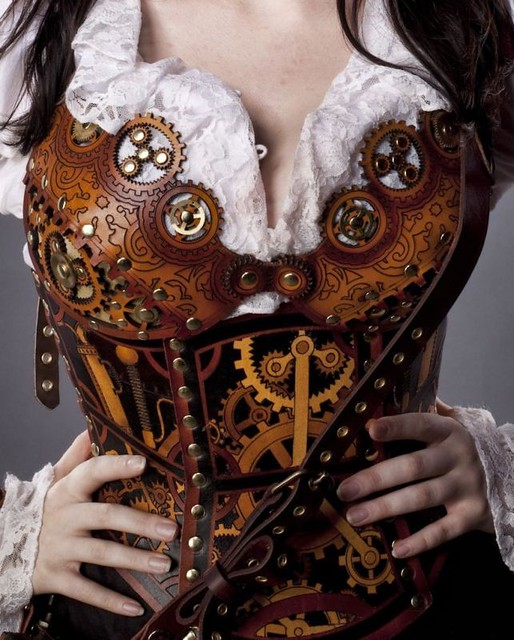 leather clockwork corset detail