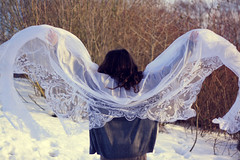 Two (oOTheSmallOneOo) Tags: birthday winter portrait snow wings curtain fabric item collaboration lense
