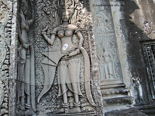 apsaras on inner wall of facade