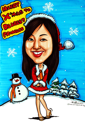 Snowy Christmas lady caricature