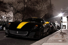 Best GTO ever! (Alex Penfold) Tags: lighting camera black colour cars alex sports car yellow night canon dark photography photo cool shot nightshot image awesome stripe picture fast super ferrari spot bee exotic photograph gto bumble supercar spotting combination numberplate exotica supercars penfold 599 spotter 2011 450d hpyer