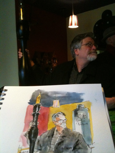 Jim Woodring and his Giant Pen at Cafe Racer, Seattle