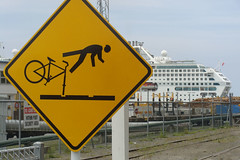 Another hapless (Home Land & Sea) Tags: newzealand bicycle sign yellow warning cyclist nz cruiseship napier pointshoot peril sonycybershot hawkesbay stickmaninperil sunprincess portofnapier dsch3 lookfortrains homelandsea