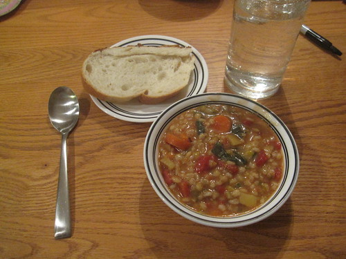 Vegetable barley soup and bread