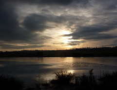 Towards sunset at Carr Vale lake (1) (WayShare) Tags: sunset sky lake ice clouds reflections carr derbyshire vale bolsover