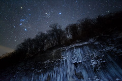 Star icefall (masahiro miyasaka) Tags: trip travel blue winter light sky white snow mountains cold tree nature beautiful japan night canon wonderful butterfly stars wonder landscape outdoors star frozen waterfall nice fantastic with nightshot top explorer explore galaxy fantasy astrophotography orion icicle excellent  wallpapers alpen orient  pleiades oneshot milkyway icefall   startrail   earthandsky   earthandspace   iso5000 Astrometrydotnet:status=failed peopleandspace eos5dmark bestnewcomer yahoo:yourpictures=night yahoonight competition:astrophoto=2012
