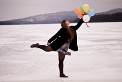 Day 365/365 This is It (nikki chicoine.) Tags: mountain lake ice colors balloons dress boots theend tights 365 day365
