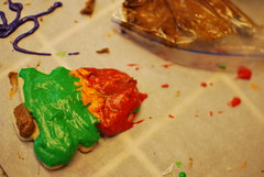 christmas tree... on fire (buoyant confetti) Tags: red green fire cookie christmastree icing christmascookies treeonfire decoratedcookie christmastreecookie