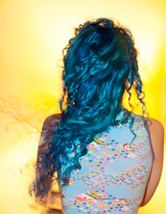 Day 45 of 365 - Year 2 (wisely-chosen) Tags: selfportrait me january canon50mmf18 bluehair tokidoki 2011 365days naturallycurlyhair canonspeedlite430exii manicpanicshockingblue curlformers adobephotoshopcs5extended manicpanicaftermidnightblueamplified