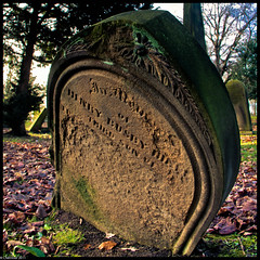 Angle (Chemival (slowly getting back in the swing...)) Tags: broken cemetery grave graveyard leaves angle headstone erosion worn inscription sunderland tilting bishopwearmouthcemetery