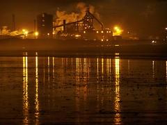 Coatham Beach (trev.pix) Tags: reflections sand nightlights smoke steam nightscene redcar steelworks corus tatasteel warrenby coathamsands britishsteelworks